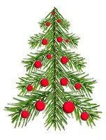 Tannenbaum aus Tannenzweigen mit roten Kugeln