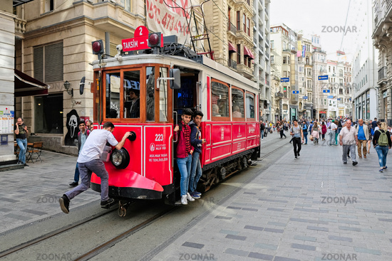 ISTANBUL, TURKEY - MAY 25 : Vintage tram in Istanbul Turkey on May 25, 2018. Unidentified people