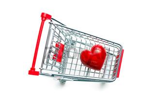stone heart in shopping cart
