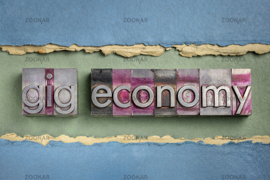 gig economy business concept in metal type