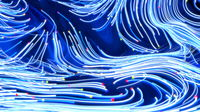 Neon glowing twisted cosmic blue tint lines on the surface of the planet. Beautiful swirls, bright turbulence curls flow colorful motion Dreamscape. Fluid and smooth astronomy vortex structure. 3d rendering Abstract creative modern wide background