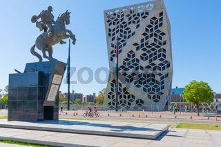 Argentina Cordoba Bicentenario district civic center building and equestrian statue