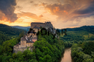 Orava Castle on a huge cliff above the river valley