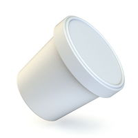 White ice cream tub Side view 3D