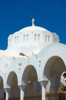 Dome of Orthodox Metropolitan Cathedral in Fira