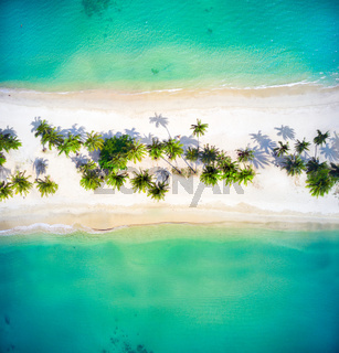 Aerial View Of Two Beautiful Tropical Beaches