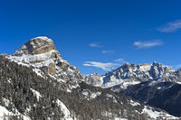 Winterlandschaft in den Dolomiten bei Covara, Alta Badia, Dolomiten, Südtirol, Italien
