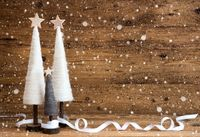 White Christmas Tree, Wooden Background, Copy Space, Snowflakes