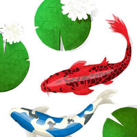 Watercolor koi fish and lotus