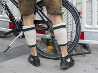 Legs of a Man with Traditional Bavarian Lederhosen and Stockings - Munich
