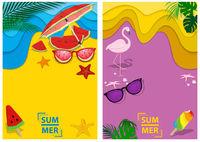 Satz von zwei Designs Sommerhintergrund