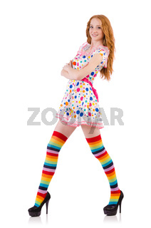 Young girl with colourful clothing on white