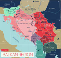 Balkan region detailed editable map