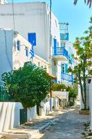 Quiet street in Chora town in Mykonos