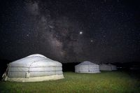 Milky way over ger camp in Mongolia