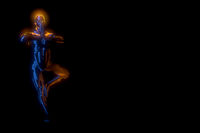 3d man doing yoga exercise in tree pose isolated on black background