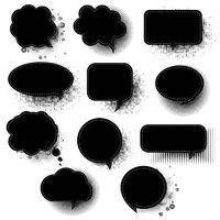 Black Retro Speech Bubble With White Background