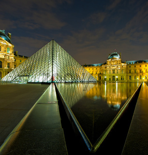 Louvre museum at night, Paris, France