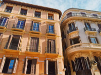 Streets of Malaga, the capital city of Andalucia region in Spain, Southern European architecture and historical buildings