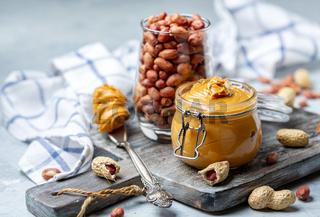 Jar of homemade butter peanut butter.