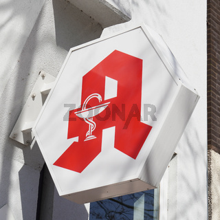 German pharmacy or drugstore with red A logo known as Apotheken-A - in Hannover, Germany on March 16, 2020