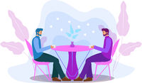 Guys are sitting at a table in a cafe drinking coffee. Men in a restaurant, dating gay love. Flat modern illustration. Vector