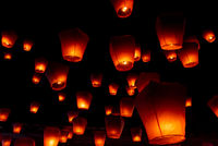 Orange lanterns at Pingsi sky lantern festival, Taiwan