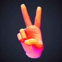3D low poly human hand showing victory, freedom or peace gesture.
