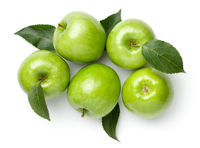 Granny Smith Apples With Leaves Isolated