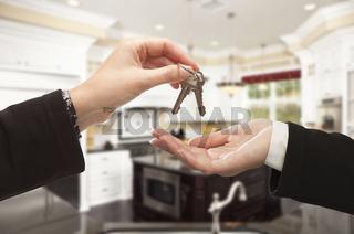 Handing Over New House Keys Inside Beautiful Home