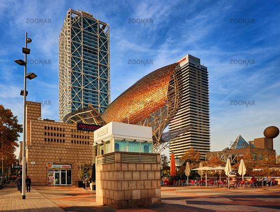 Golden Fish statue in Barcelona, Spain