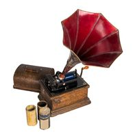 Cut out Old phonograph with three cylinder records with clipping path