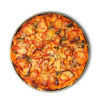 Fresh crispy pizza isolated on white background with shadow, top view. Studio shot. Use a clipping path for cut out object