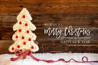 Fabric Christmas Tree, Ball, Snow, Merry Christmas And A Happy New Year