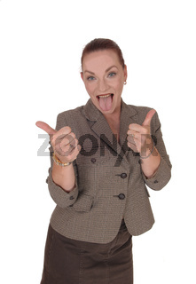 Business woman gesturing OK with two thumb down