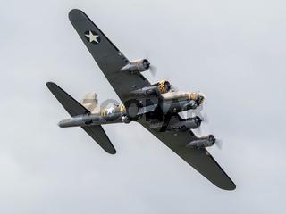Memphis Belle Boeing B 17 Sally B bomber flying over Biggin Hill airfield
