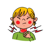 A child is showing symptoms of a sore throat- hand-drawn vector illustration