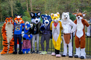 Volkspark Friedrichshain, Berlin, Germany - april 14, 2018: european furry meeting in Berlin