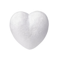 Front view of white styrofoam heart