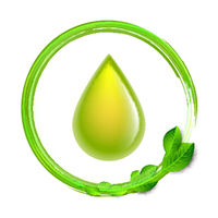 Green glossy drop with green leaves isolated on white background, environment conceptual design.