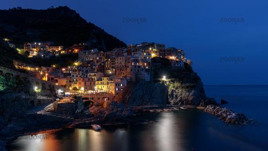 MANAROLA, LIGURIA/ITALY  - APRIL 20 : Night-time view of Manarola Liguria Italy on April 20, 2019