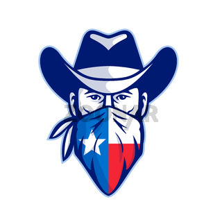 Texan Bandit Taxas Flag Bandana Mascot