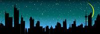 City line on the skyline at night