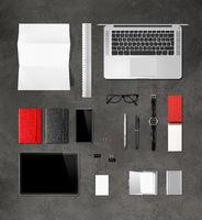 Concrete office desk branding mockup top view