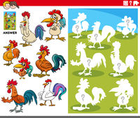 matching shapes game with cartoon rooster characters