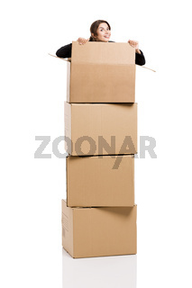 Business woman appear inside card boxes