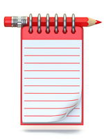 Red pencil and notepad 3D