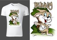 Weißes Kinder T-shirt Design mit Karikatur Hase