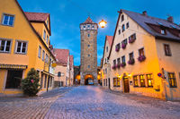 Rothenburg ob der Tauber. Hisoric tower gate of medieval German town of Rothenburg ob der Tauber