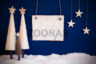 Christmas Tree, Blue Background, Snow, Copy Space For Advertisment